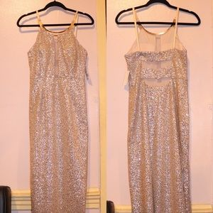 Aidan Mattox Pink and Silver Beaded Dress